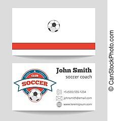 treinador, negócio, modelo, logotipo, futebol, cartão