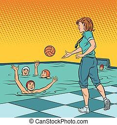 treinador, pólo água jogo, desporto, crianças