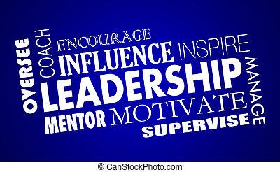 treinador, palavra, inspire, colagem, motive, ilustração, liderança, 3d