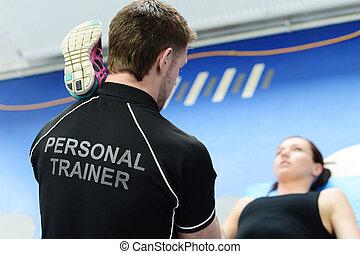 treinador pessoal, estica, ajudando