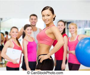 treinador, pessoal, ginásio, grupo
