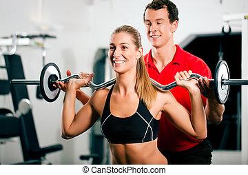 treinador, pessoal, ginásio, mulher