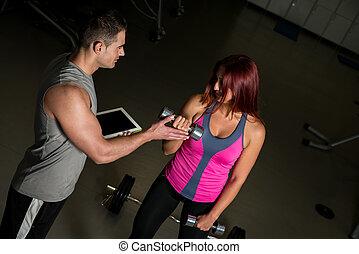 treinador, pessoal, ginásio, mulher, motivar