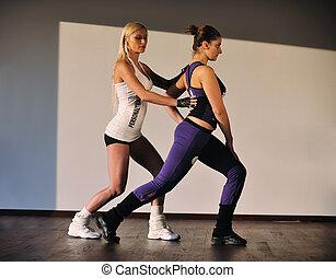 treinador pessoal, mulher, condicão física