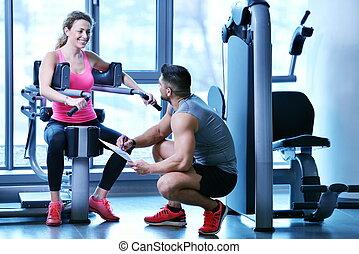treinador, pessoal, mulher, exercitar, dela