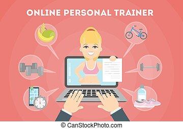 treinador pessoal, online.