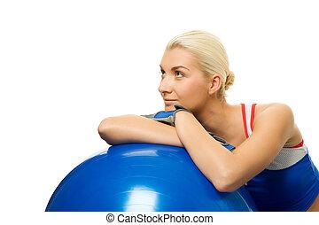 treinador, relaxante, após, exercício aptidão