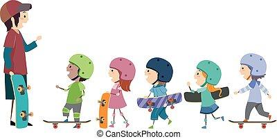 treinador, stickman, crianças, skateboard, ilustração
