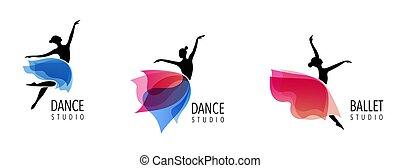treinador, teia, coloridos, pessoas, dança, abstratos, desporto, ginásio, executando, vetorial, condicão física, ativo, logotipo, design., logo., símbolo, ícone