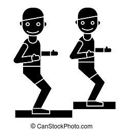 treinador, treinador, ilustração, ginásio, -, isolado, sinal, vetorial, experiência preta, condicão física, ícone