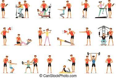 treinador, treinador, pessoal, ginásio, vetorial, jogo, ilustrações, instrutor, ou