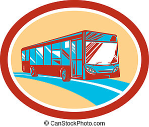 treinador, turista, autocarro, lançadeira, retro, oval