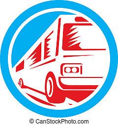 treinador, turista, autocarro, retro, lançadeira, círculo