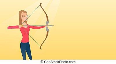 treinamento, arqueiro, jovem, bow., caucasiano