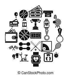 treinamento, basquetebol, ícones, jogo, estilo, simples
