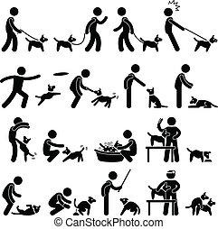 treinamento, cão, pictograma