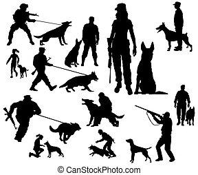treinamento, cachorros, cão