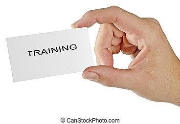treinamento, cartão, negócio, mão