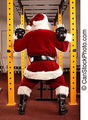 treinamento,  Claus,  santa,  kettlebells