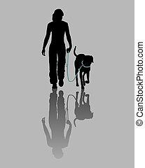 treinamento, command:, leash!, cão, (obedience):, ir