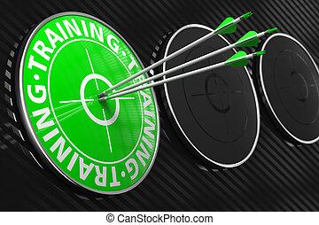 treinamento, conceito, ligado, verde, target.