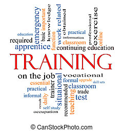 treinamento, conceito, palavra, nuvem