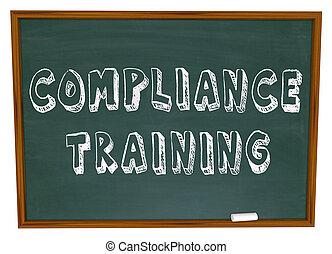treinamento, conformidade, chalkboard, palavras