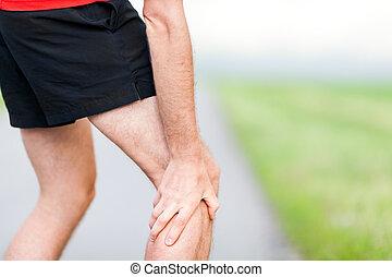 treinamento, dor, perna, corredor, executando, ao ar livre, durante, músculo