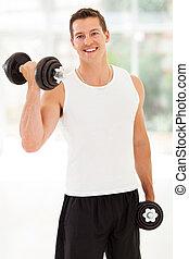 treinamento, dumbbells, homem jovem