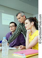 treinamento, educacional, homens negócios, jovem