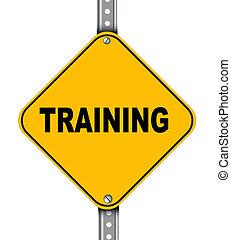 treinamento, estrada amarela, sinal