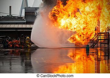 treinamento, fogo, empregados, anual, luta, treinamento, bombeiros