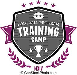 treinamento, futebol, emblema, acampamento