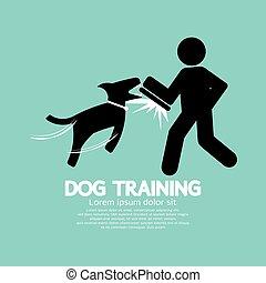 treinamento, gráfico, cão, símbolo.