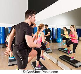 treinamento, grupo, dança, ginásio, passo, condicão física, cardio