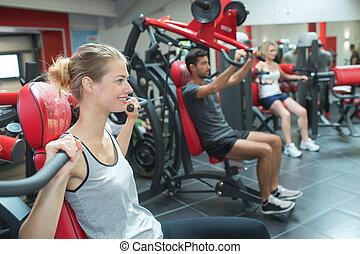 treinamento, grupo, ginásio, pessoas