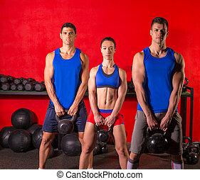 treinamento, Grupo, malhação,  kettlebell, Balanço, ginásio