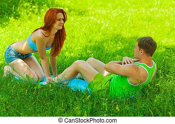 treinamento, homens, femininas