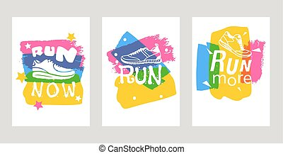 treinamento, lettering, motivação, jogo, poster., sapatos, inscrições, texto, now., treinadores, tipografia, movimento, executando, vetorial, sneakers, ilustração, sinais, cartões, corrida, ou, corredores