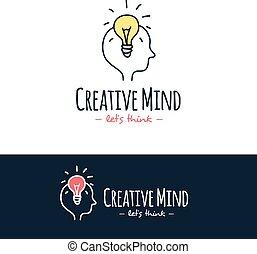 treinamento, logotype., doodle, estilo, mão, cérebro, vetorial, desenhado, logo., caricatura