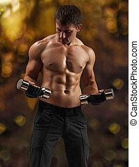 treinamento, macho, muscular
