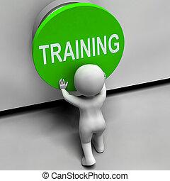 treinamento, meios, botão, educação, indução, ou, seminário