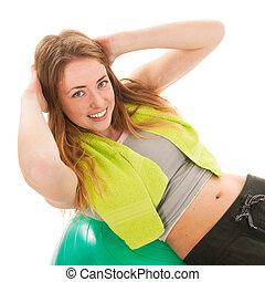 treinamento, mulher, desporto, abs, bola