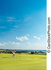 treinamento, mulher, golfe, área, jovem, determinado, prática, capim