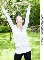 treinamento, mulher, jardim, feliz