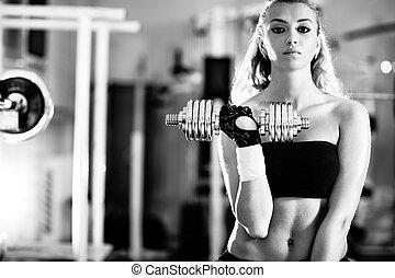 treinamento, mulher, jovem, peso