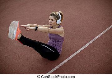 treinamento, mulher, malhação, abs, condicão física