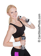 treinamento, mulher, peso, condicão física