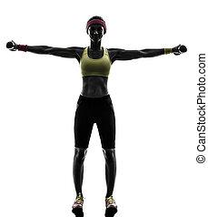 treinamento, mulher, silueta, peso, malhação, exercitar, condicão física