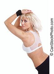 treinamento, mulher, sobre, loura, condicão física, branca